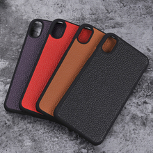 For iPhone X Leather Cover Hard Back Snap on Case