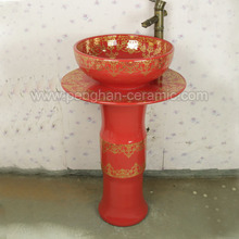 Jingdezhen happy color red Sanitary Ware Ceramic Pedestal Sinks
