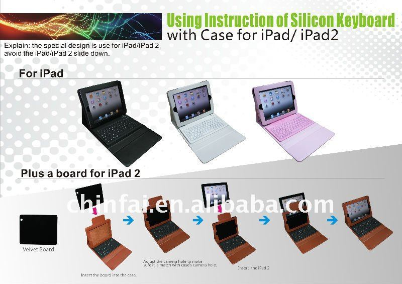 Colorful flexible leather protective cover with mini keyboards BT for Ipad series