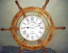 Brass inlay wood nautical style ship wheel clock, Victoria station ship wall clock
