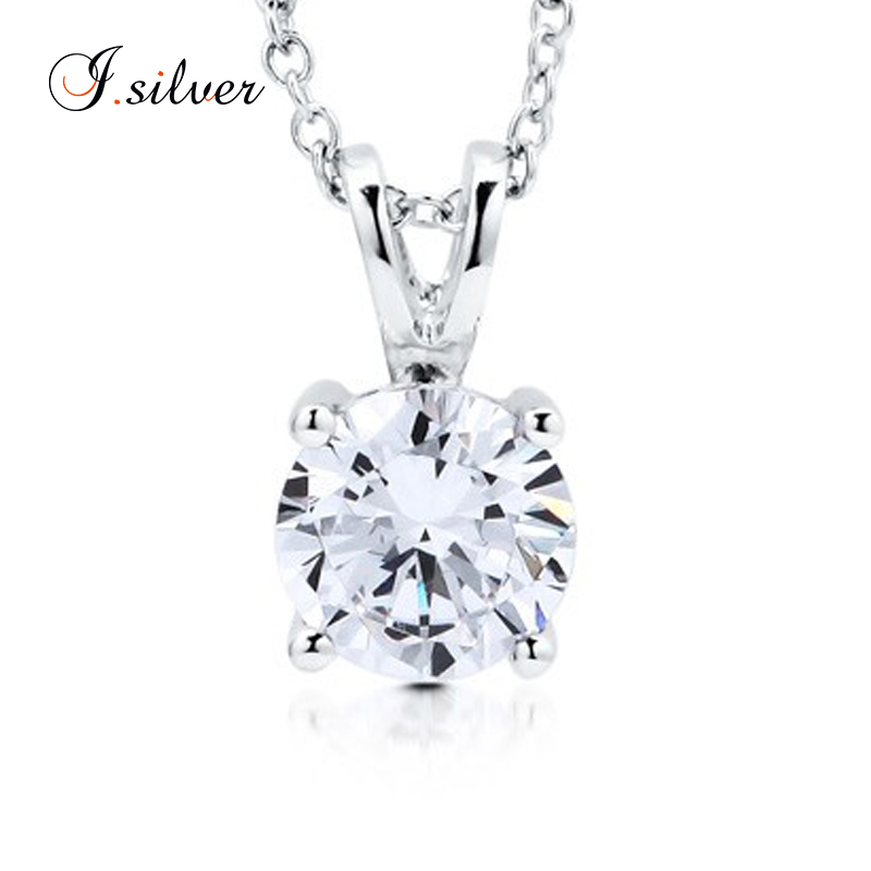 925 sterling silver jewelry charms Round CZ Solitaire Pendant P50013