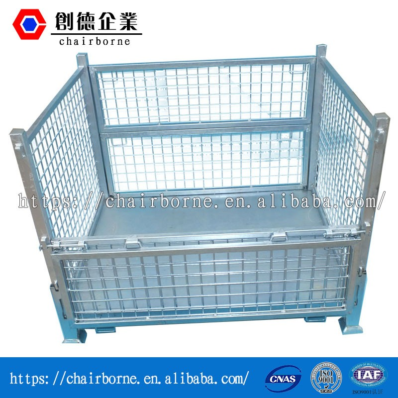 Iso 9001 certificated high quality steel pallet box rigid wire mesh liquid pallet containers