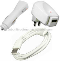HI-SPEED USB 2.0 CABLE+WALL HOME charger+CAR POWER CHARGER FOR NEW AMAZON KINDLE TOUCH(us)