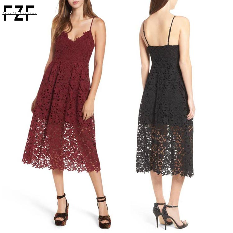 Dongguan clothing factories lady latest fashion black and dark red sleeveless midi lace dress