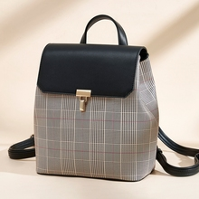Wholesale simple fashion korean style back pack bag plaid women girls school college <strong>backpack</strong>