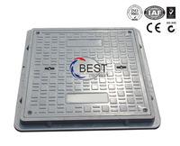 OEM heavy duty D400 EN124 square fiberglass plastic manhole cover with handle