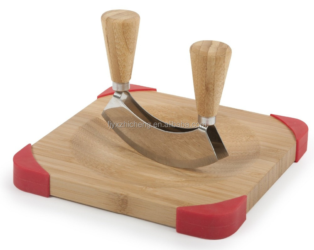 hot sale unique bamboo cutting board double mincing knife set cutting board with knife