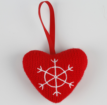Polyester felt ornaments stuffed heart Christmas tree decoration