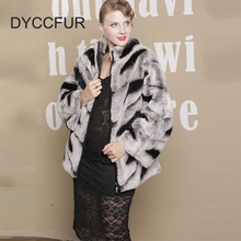 model 7 custom made women S to 4XL size 70cm long stand collar bat sleeves zippered chinchilla rex rabbit fur coat