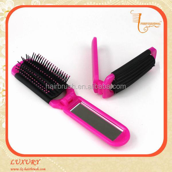 Compact foldable travel mini hair brush with mirror