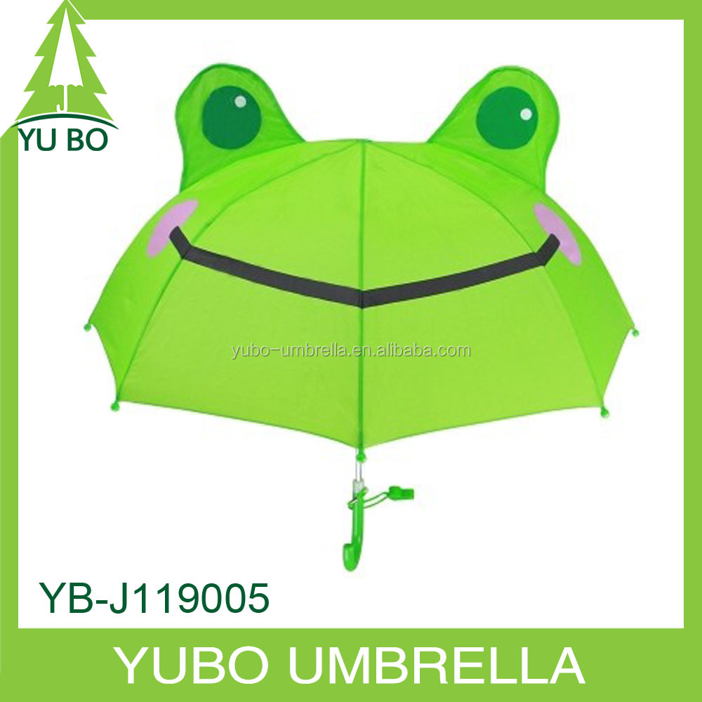 frog shape transparent clear POE kids umbrella with ears and whistle