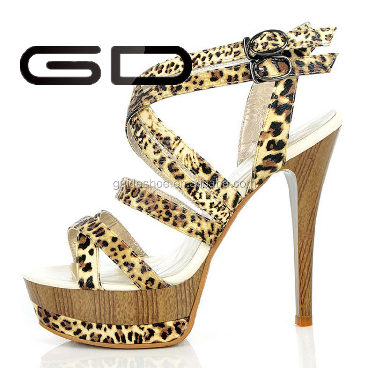 Factory wholesale customized ladies yellow Leopard high heel sandals shoes