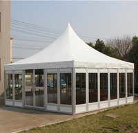 Large Outdoor Clear Span Tent Waterproof PVC Fabric With Glass Wall