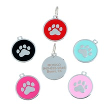 Drop Shipping Good Quality Custom Engraved Enameled Paw Print Dog Pet Id Tags
