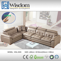 Modern Settee Leather L-Shape Settee Colorful Lobby Sofa