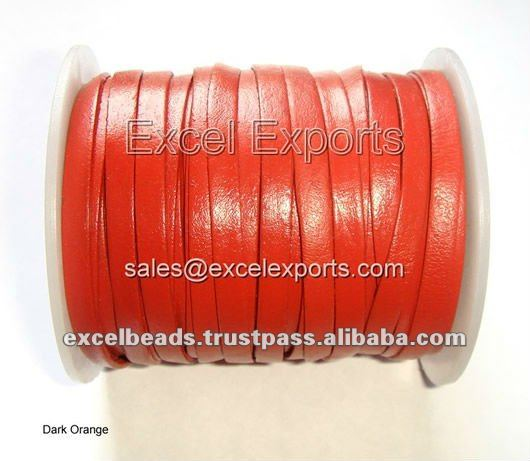 Flat Leather Laces wholesale supplier, made of 100% real leather, lead free AZO free colors