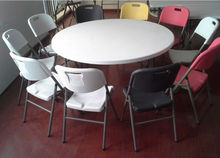 "60"" round granite white plastic folding dining table and chair"