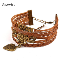Vintage Alloy LOVE Multilayer Faux Flower Heart Buckle Leather Woven Bracelets For Mens Summer Style Women Jewellry