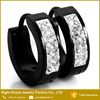 Stainless Steel Black Plated Earrings Crystal Paved Hoop Huggie Earrings