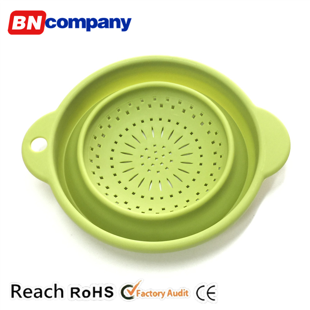 Green Dropping Water Folding Kitchen Plastic Vegetable Fruit Basket