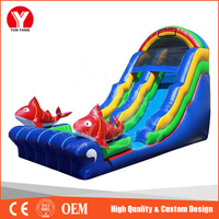 Inflatable floating water slide with fish for pool