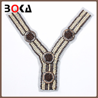 Fashion handmade beads neck trim brown and beige beaded collar designs for women BK-CL376