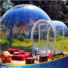 Big Inflatable transparent dome tent,family camping bubble tent with 3 rooms