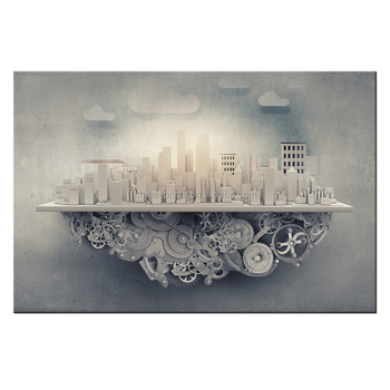 The Gear of City Funny Photo Canvas Printing for Office Wall Decoration Ready to Hang