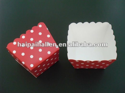 Red dots celebrate square Cupcake Liners Muffin cases