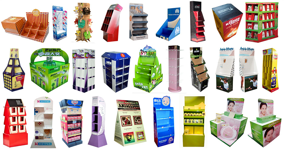 Two tiers cardboard corrugated counter displays