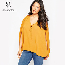 Plus Size Women Blouse 2014 New Fashion Women Clothing Tops Ladies Sexy V Neck T Shirt Female Spring Autumn Long Sleeve Shirts