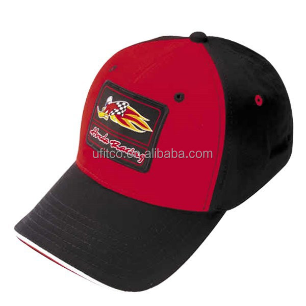 2014 good price promotion red black front badge sports cap and hat for racing