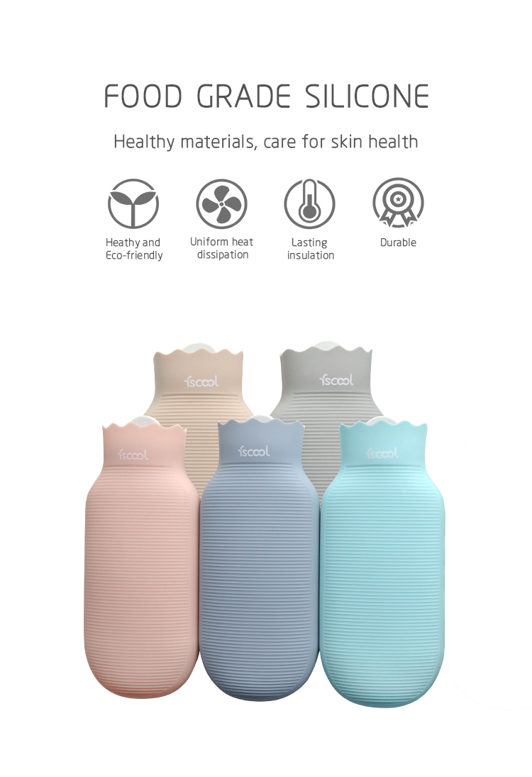New Design BPA Free Reusable Silicone Hot Water Bag For Neck Pain,Hand Warmer with Knitting Cover