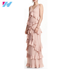 Yihao 2016 new fashion V neck sleeveless runway Tiered ruffle maxi dress