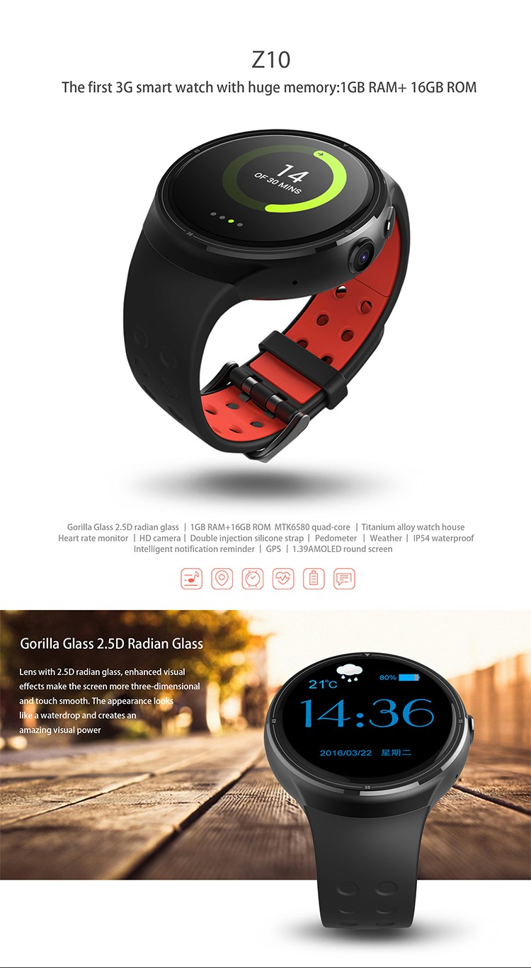 Z10 android 5.1 OS MTK6580 quad core CPU 1g ram 16g flash memory 2.0M camera bluetooth 4.0 3g smartwatch android