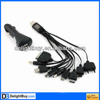 10 In 1 USB Mobile Charge Cable with car charger Adapter for PDA/ Cell phone/ MP3/PSP