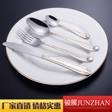 Stainless steel flatware with logo, mirror polishing and golden color