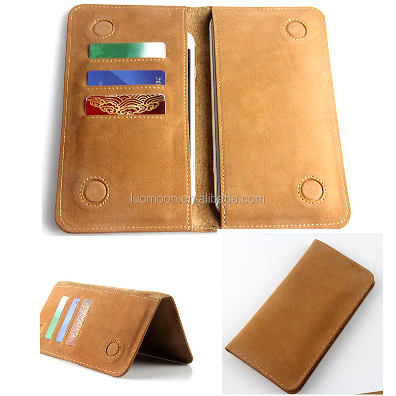 universal wallet genuine leather double phone case cover pouch bags for apple iPhone 4 5 6 S C se plus for samsung galaxy s7 4