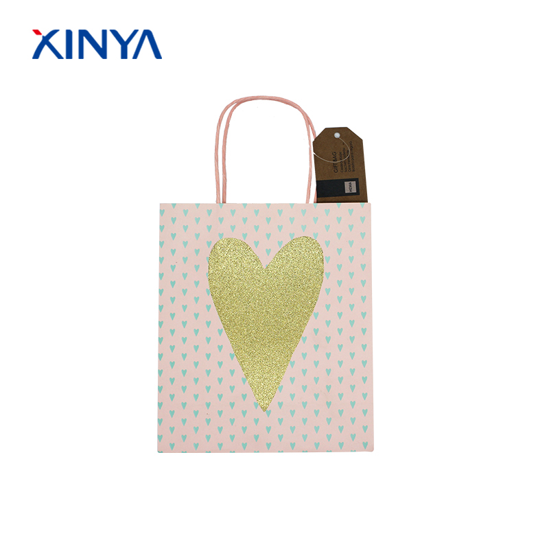 Fancy decorative matt lamination christma shopping paper bag with handles