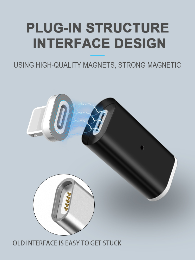 Best quality  ios usb factory metal magnetic charging connector magnetic charging and data transmission adapter
