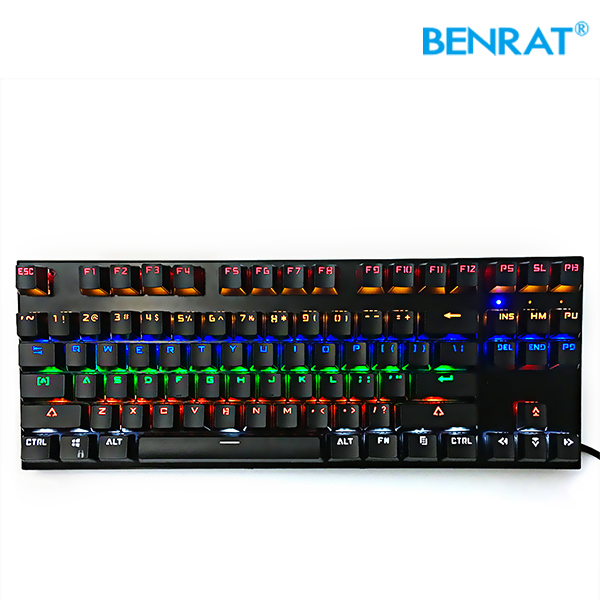 Small 87 keys computer gaming mechanical keyboard with backlight