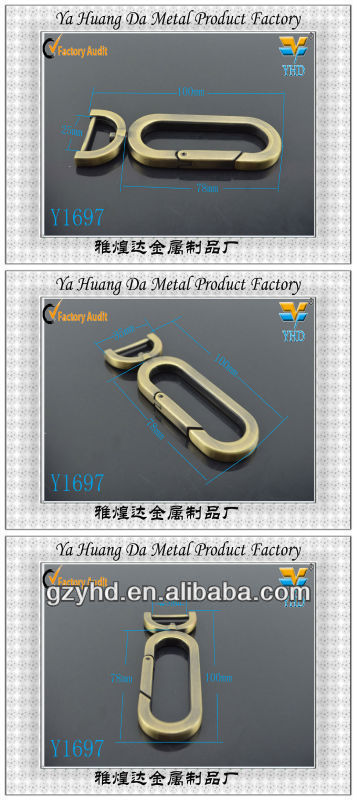 Fashion metal locking swivel hook for leather bag & bag fitting