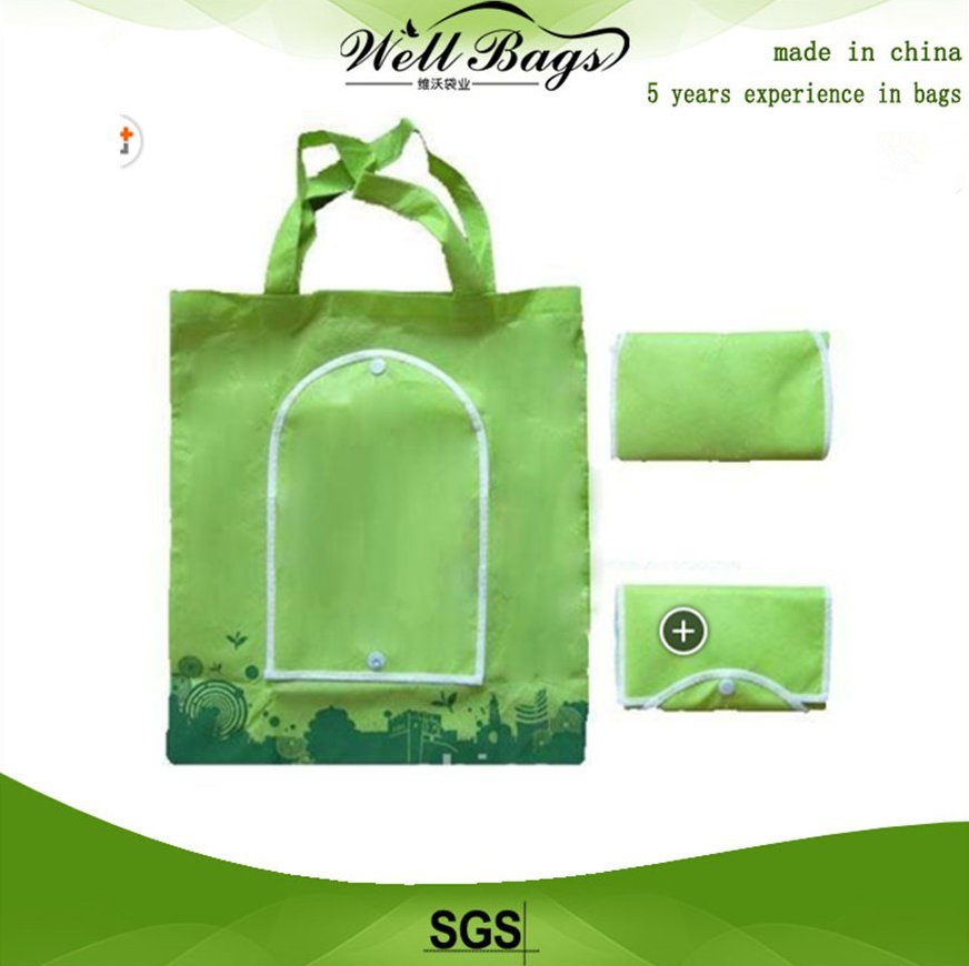 Promotional green recycled folding bag,recycled folding bag, promotional bag