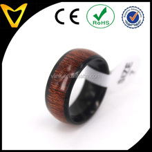Perfect Design 8mm Domed Black Plating Titanium Rings With Real Wood Inlay Koa Hawaii Wood Men's Wedding Band for Husband