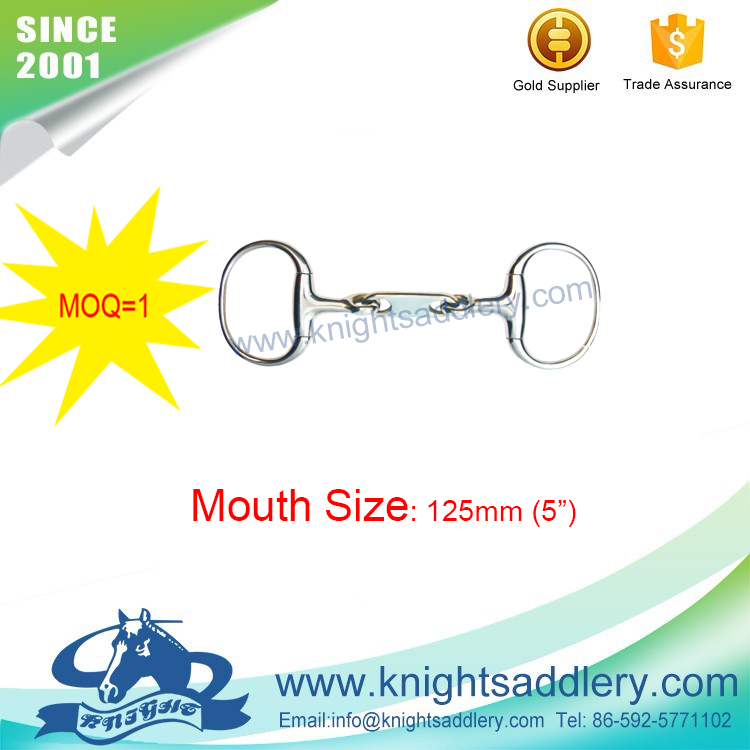 With Long Flat Link & Dr. Bristol Mouth SS Round Rings Eggbutt Horse Bit