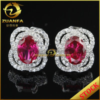 stock jewelry for sale 2015 trendy ruby color micro pave earrings