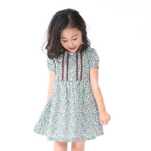 2014 Clothing Factories In China Summer Cotton A- Line Printing Puff Sleeve Flared Skirt Fancy Dresses For Girls