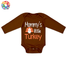 2L-LY-203 Brown Coffee Orange Thanksgiving Turkey organic cotton baby rompers wholesale baby clothes
