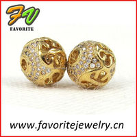 round gold plated paved metal alloy jewelry spacer beads