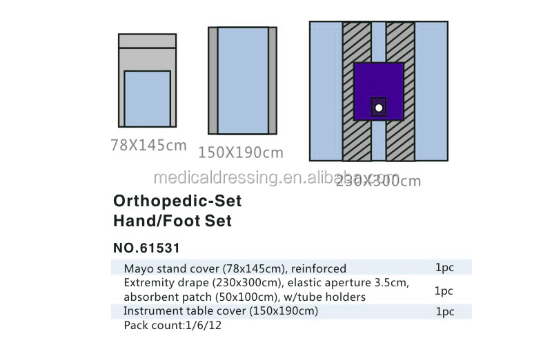 #61531 ETO sterile hand/foot set,orthopedic set with extremity drape and absorbent patch
